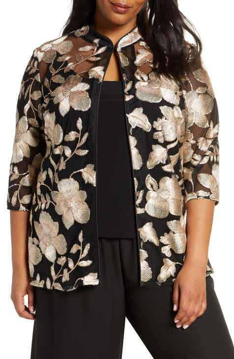 Alex Evenings Embroidered Jacket & Camisole Set (Plus Size)