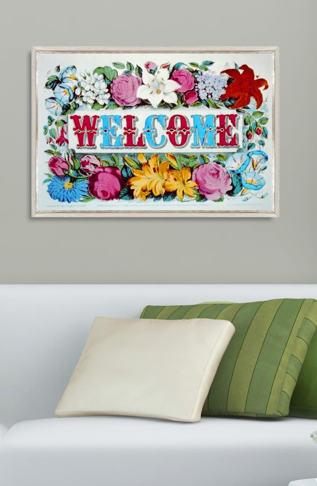 'Welcome' Framed Print,                             Alternate thumbnail 2, color,                             White