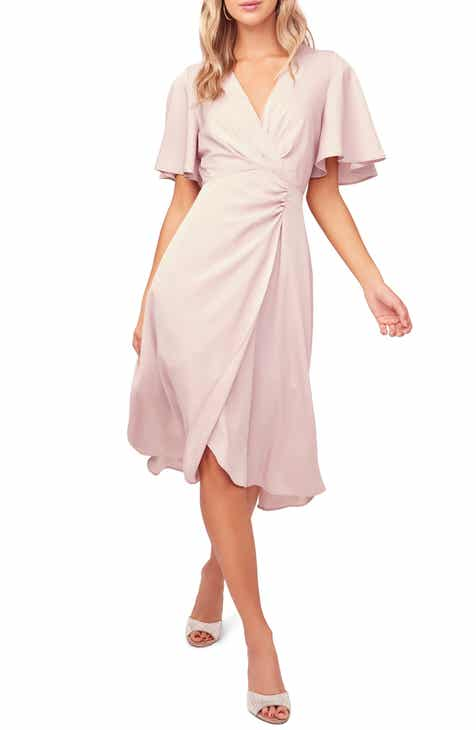 ASTR the Label Delaney Faux Wrap Flutter Sleeve Dress