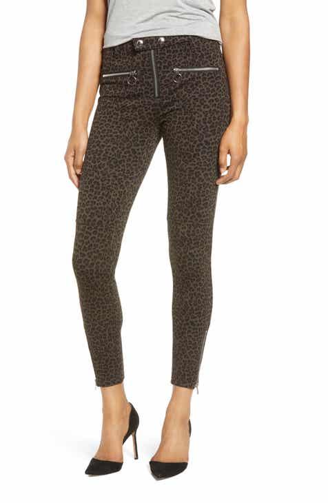 BLANKNYC Leopard Print Zip Detail Skinny Pants