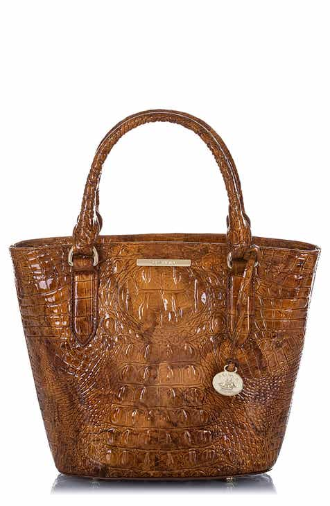 02b0760703796 Brahmin Small Bowie Croc Embossed Leather Tote