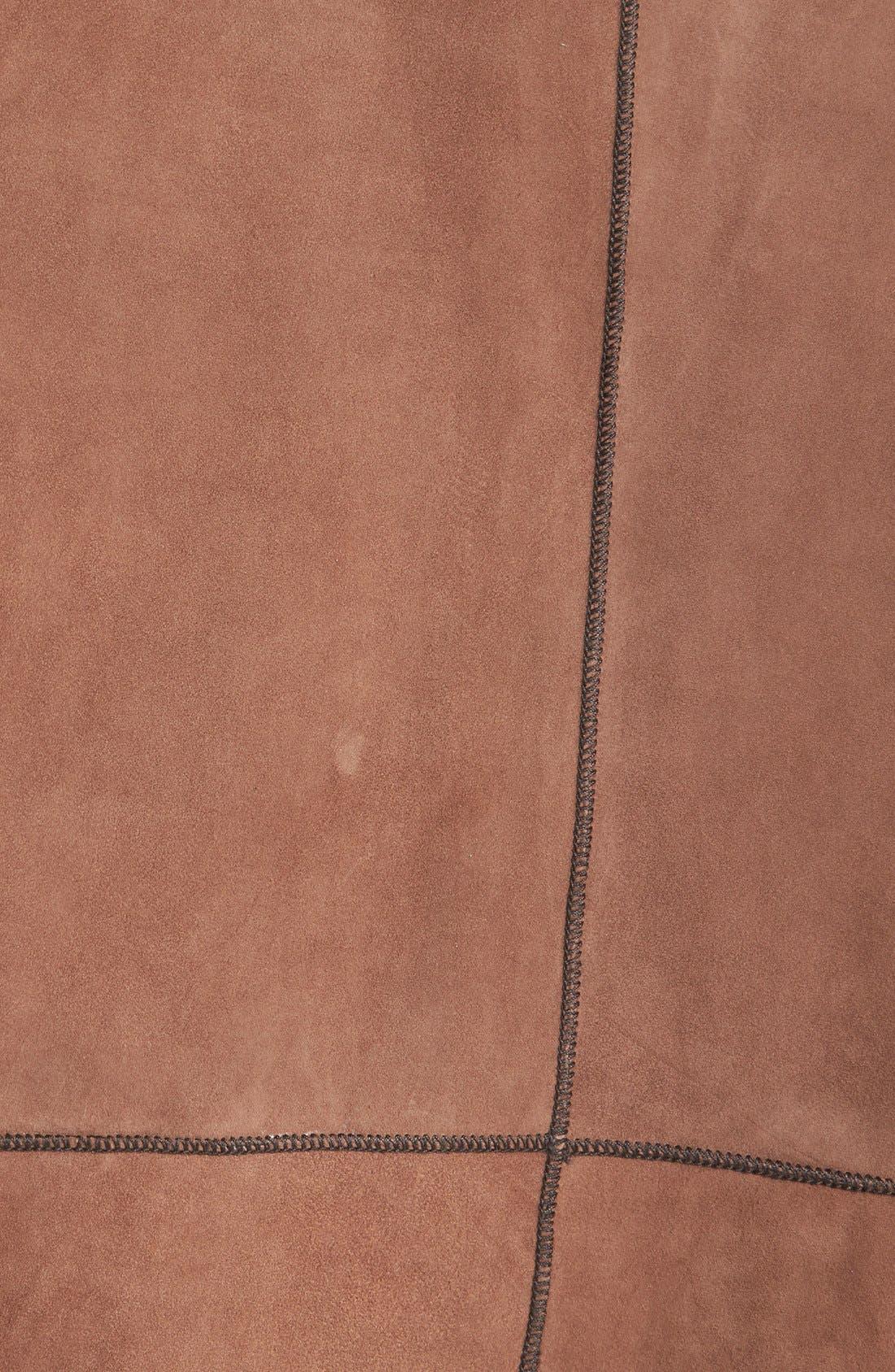 Reversible Suede Jacket,                             Alternate thumbnail 3, color,                             Chocolate