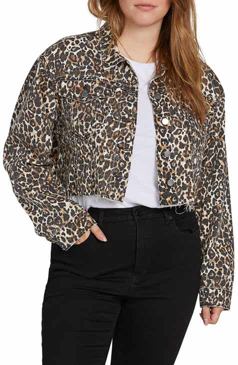 Volcom Super Stoney Leopard Print Denim Jacket (Plus Size)