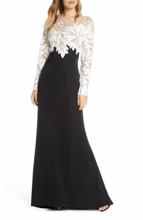 ef883a5fbcbb7 Tadashi Shoji Embroidered Long Sleeve Evening Gown