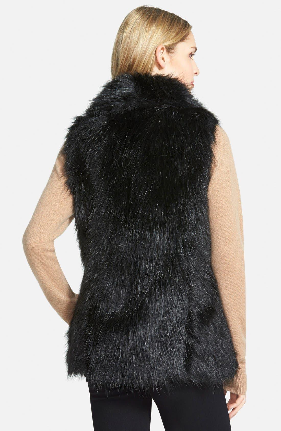 Faux Fur Vest,                             Alternate thumbnail 2, color,                             Black