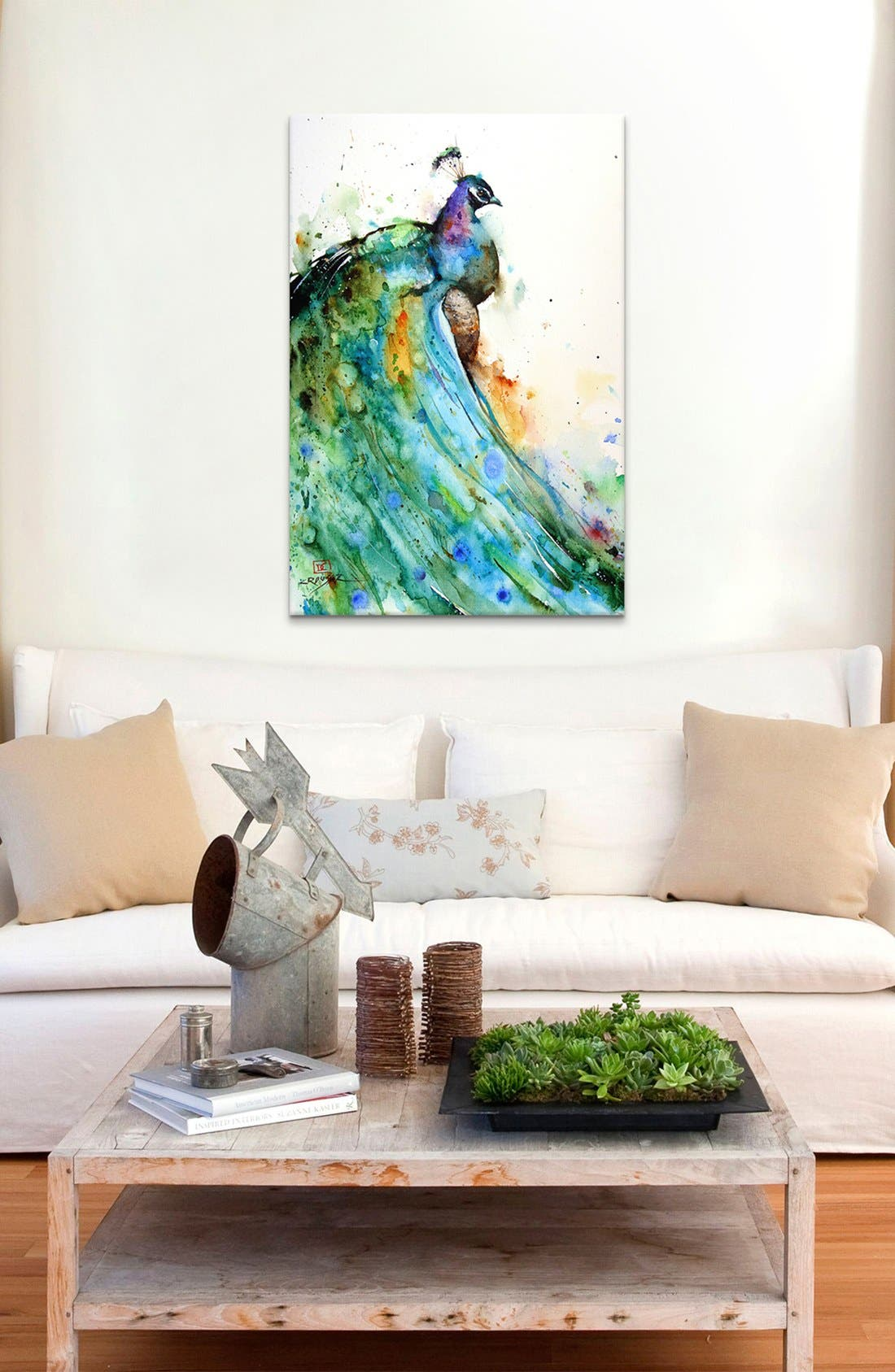 'Peacock - Dean Crouser' Giclée Print Canvas Art,                             Alternate thumbnail 2, color,                             White