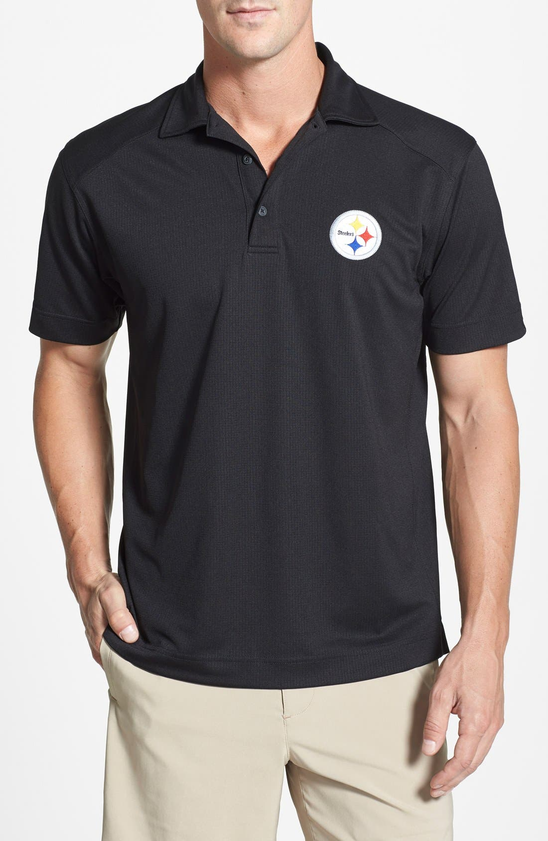 Pittsburgh Steelers - Genre DryTec Moisture Wicking Polo,                             Main thumbnail 1, color,                             Black