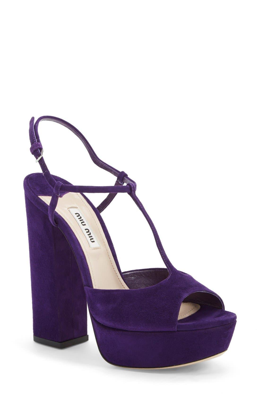 Alternate Image 1 Selected - Miu Miu Mary Jane Platform Sandal (Women)