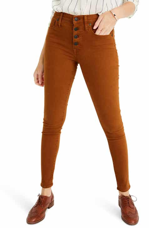 Madewell 9-Inch Mid-Rise Skinny Jeans: Garment Dyed Button Front Edition (Regular & Plus Size)