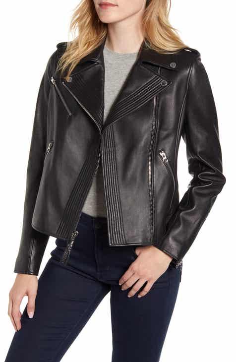 Derek Lam 10 Crosby Asymmetrical Zip Leather Moto Jacket