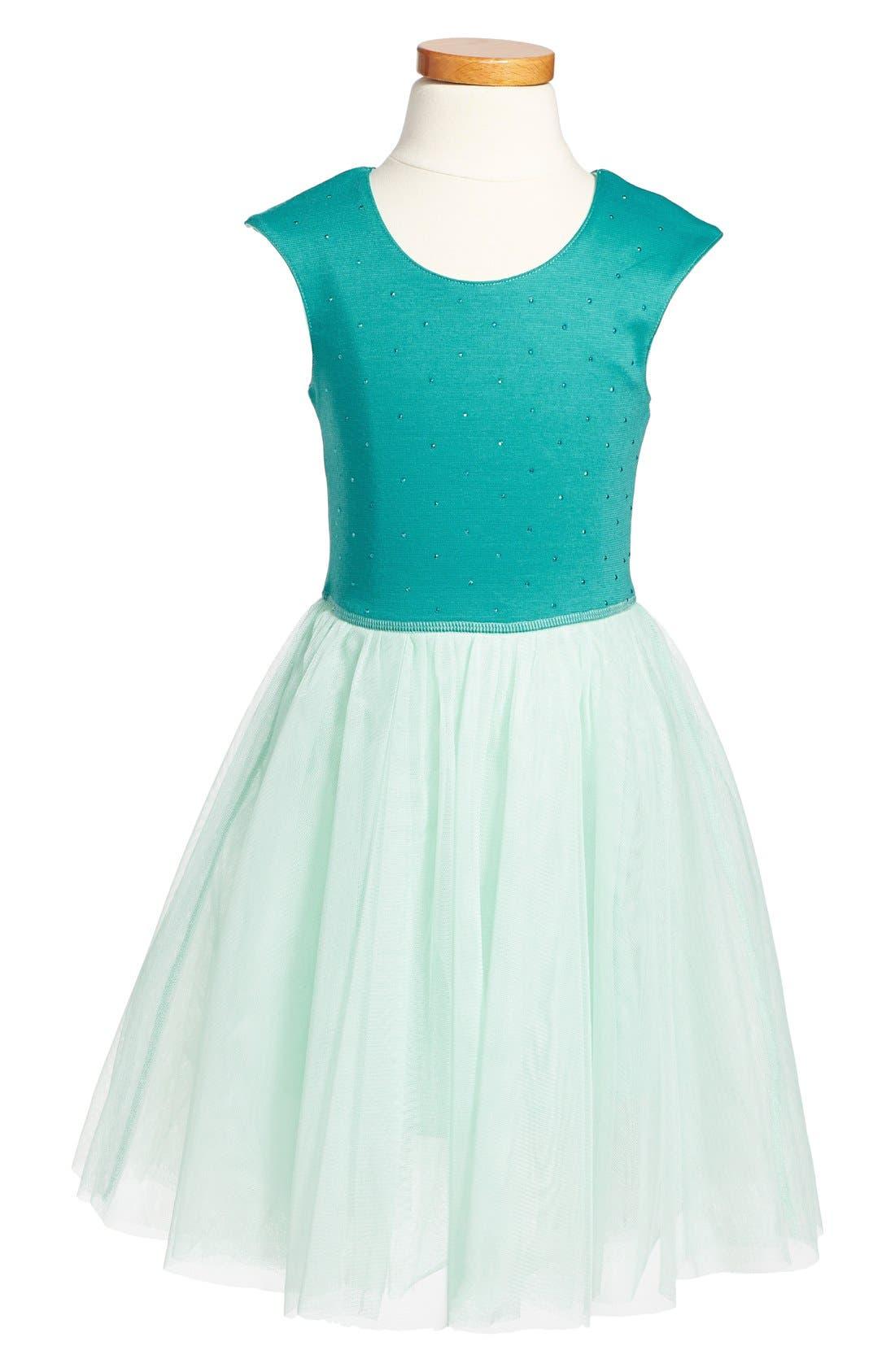 Sleeveless Mesh Tutu Dress,                         Main,                         color, Aqua