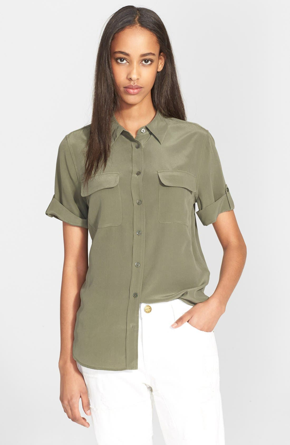 Slim Signature Short Sleeve Silk Shirt,                         Main,                         color, Army Jacket