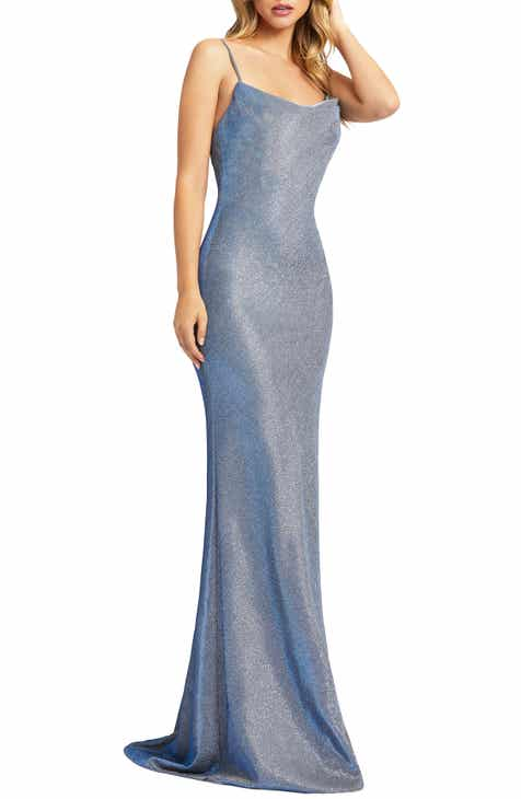 Ieena for Mac Duggal Sparkle Cowl Neck Trumpet Gown