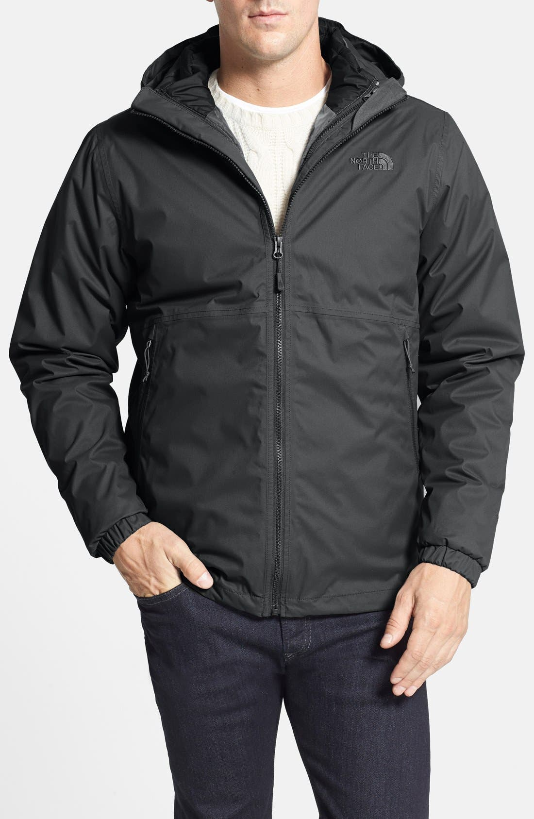 'All About' TriClimate<sup>®</sup> Waterproof Hooded 3-in-1 HyVent<sup>®</sup> Jacket,                         Main,                         color, Asphalt Grey