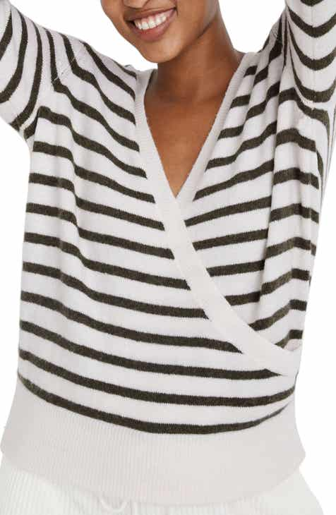 Madewell Elthorne Stripe Wrap Front Sweater