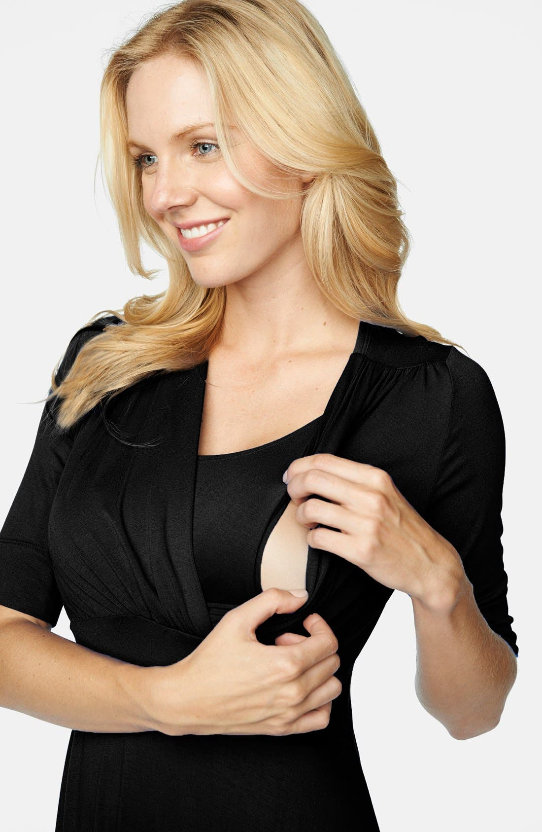 'Tummy Tuck' Maternity/Nursing Three Quarter Sleeve Dress,                             Alternate thumbnail 2, color,                             Black