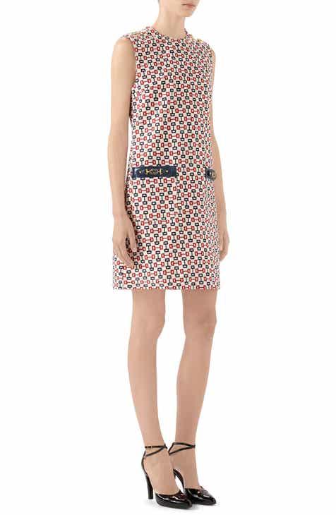 Gucci Horsebit Print Cotton Canvas Shift Dress