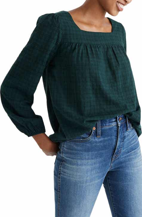 Madewell Plaid Square Neck Peasant Top