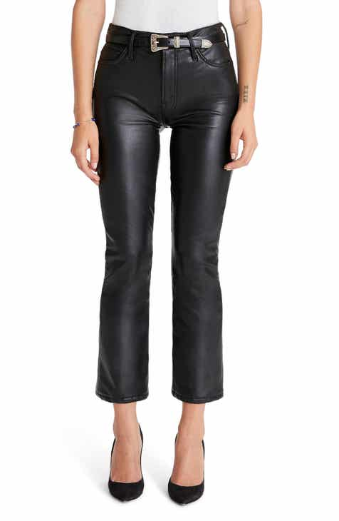 MOTHER The Insider High Waist Crop Bootcut Faux Leather Pants