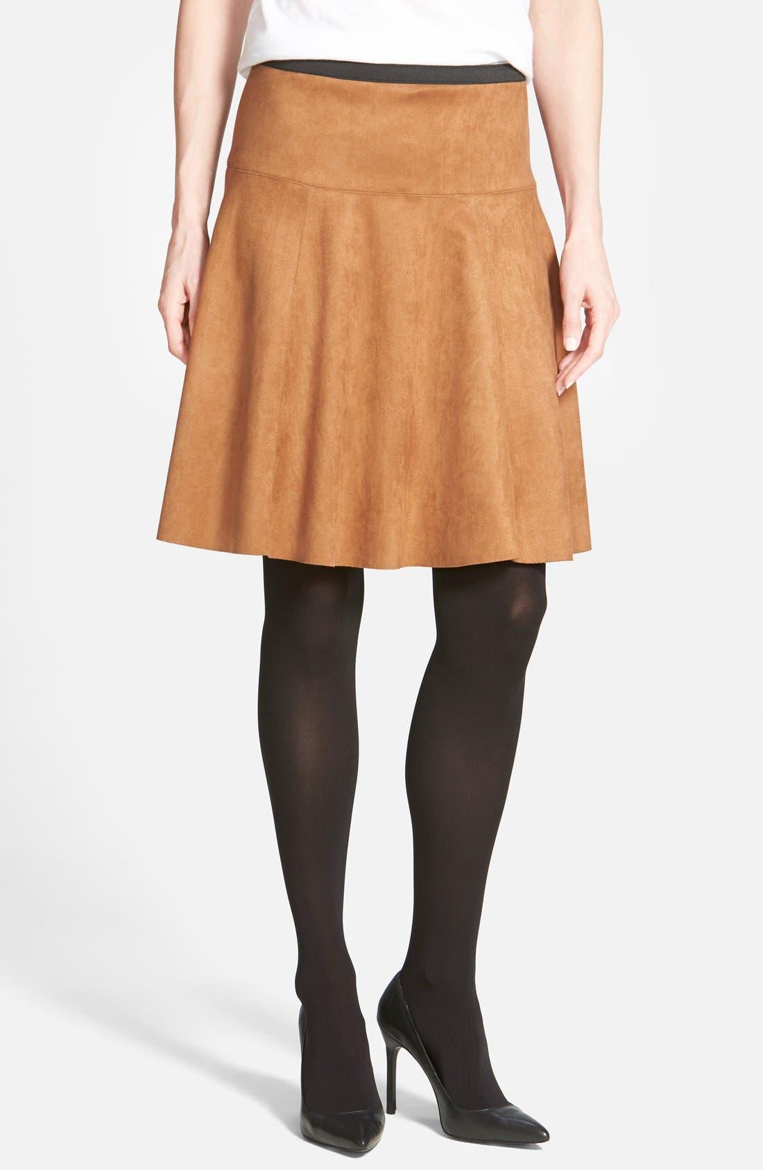 Alternate Image 4  - Karen Kane Faux Suede Flare Panel Skirt