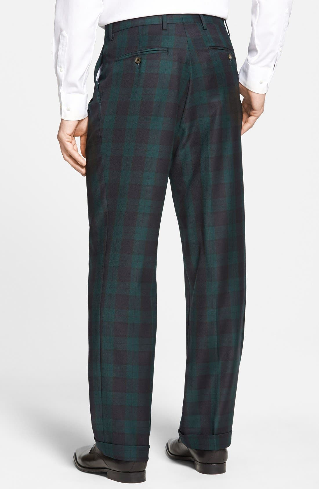 Pleated Plaid Wool Trousers,                             Alternate thumbnail 3, color,                             Green