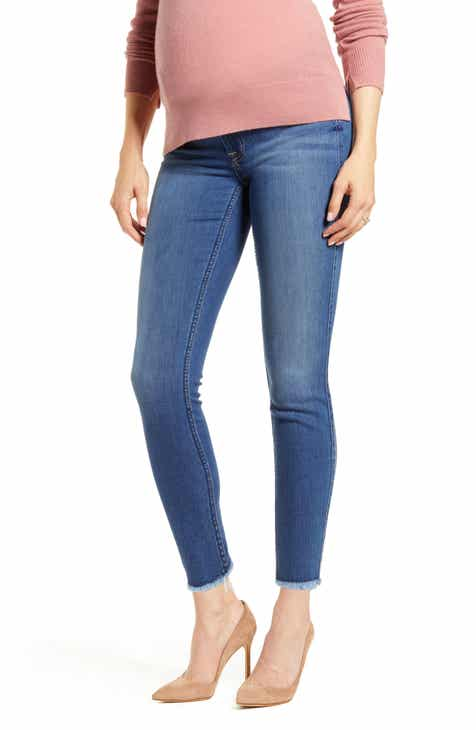 7 For All Mankind® b(air) Raw Hem Ankle Skinny Maternity Jeans (Reign)