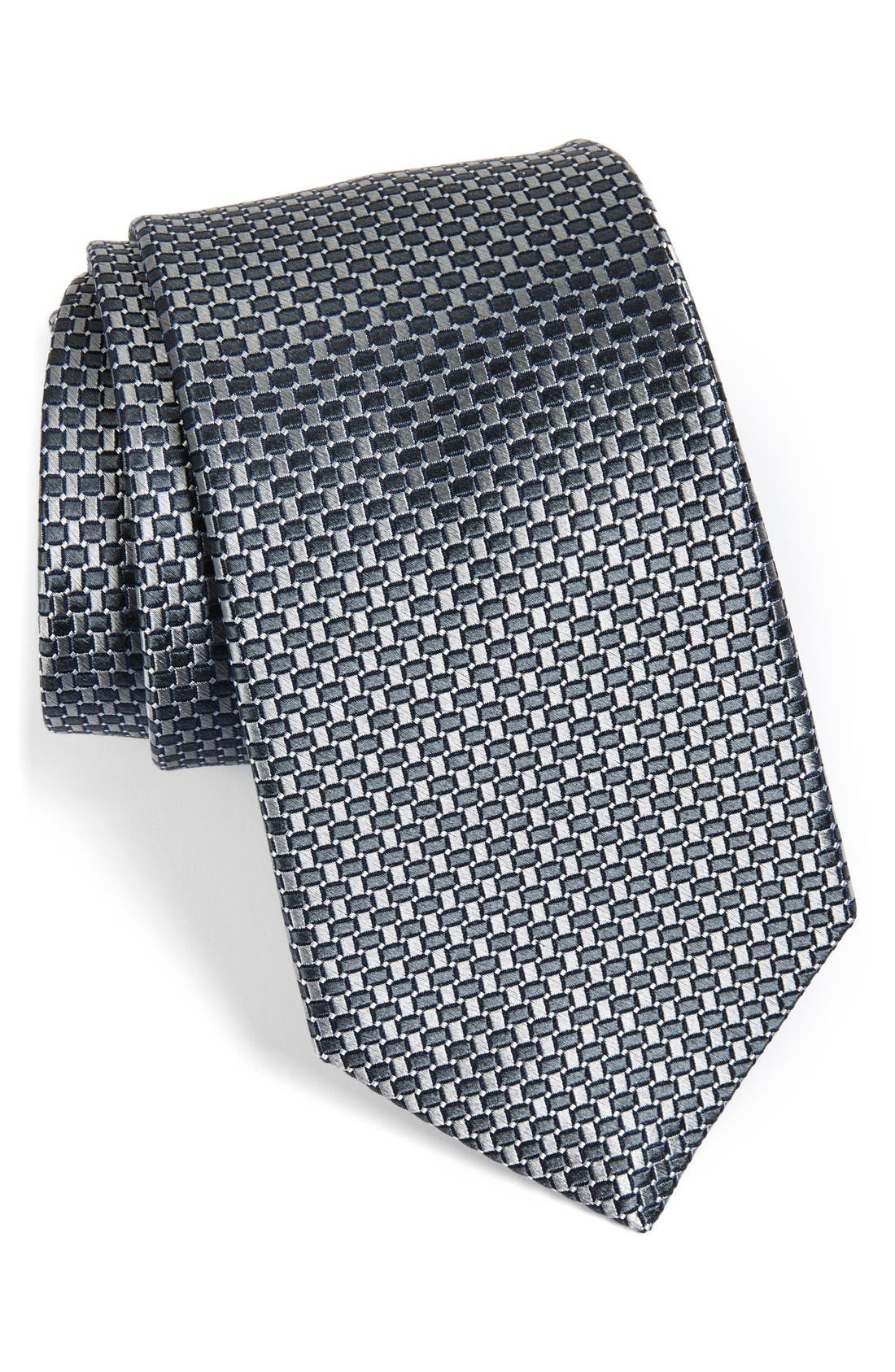 NORDSTROM MENS SHOP Small Basket Weave Neat Woven Silk Tie