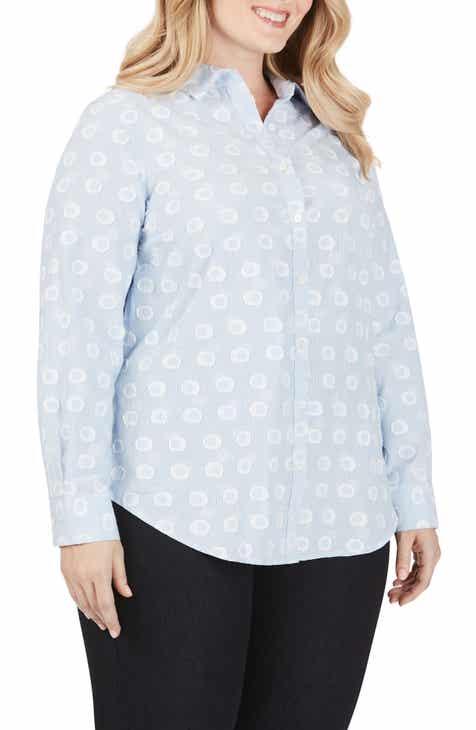 Foxcroft Havana Stripe Clip Dot Shirt (Plus Size)