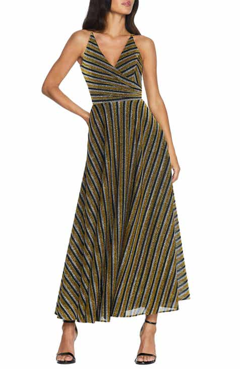 Dress the Population Lena Gltter Stripe Gown