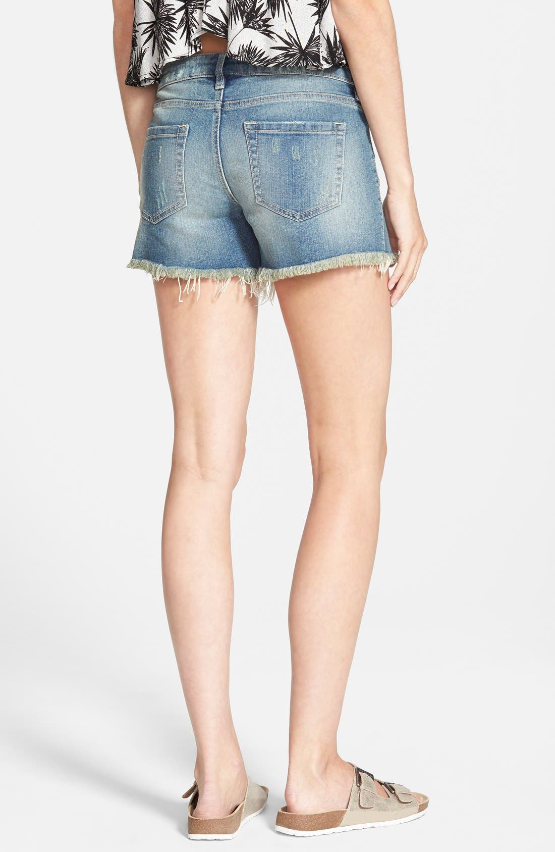 Alternate Image 2  - SP Black Crochet Trim Cutoff Denim Shorts (Medium)