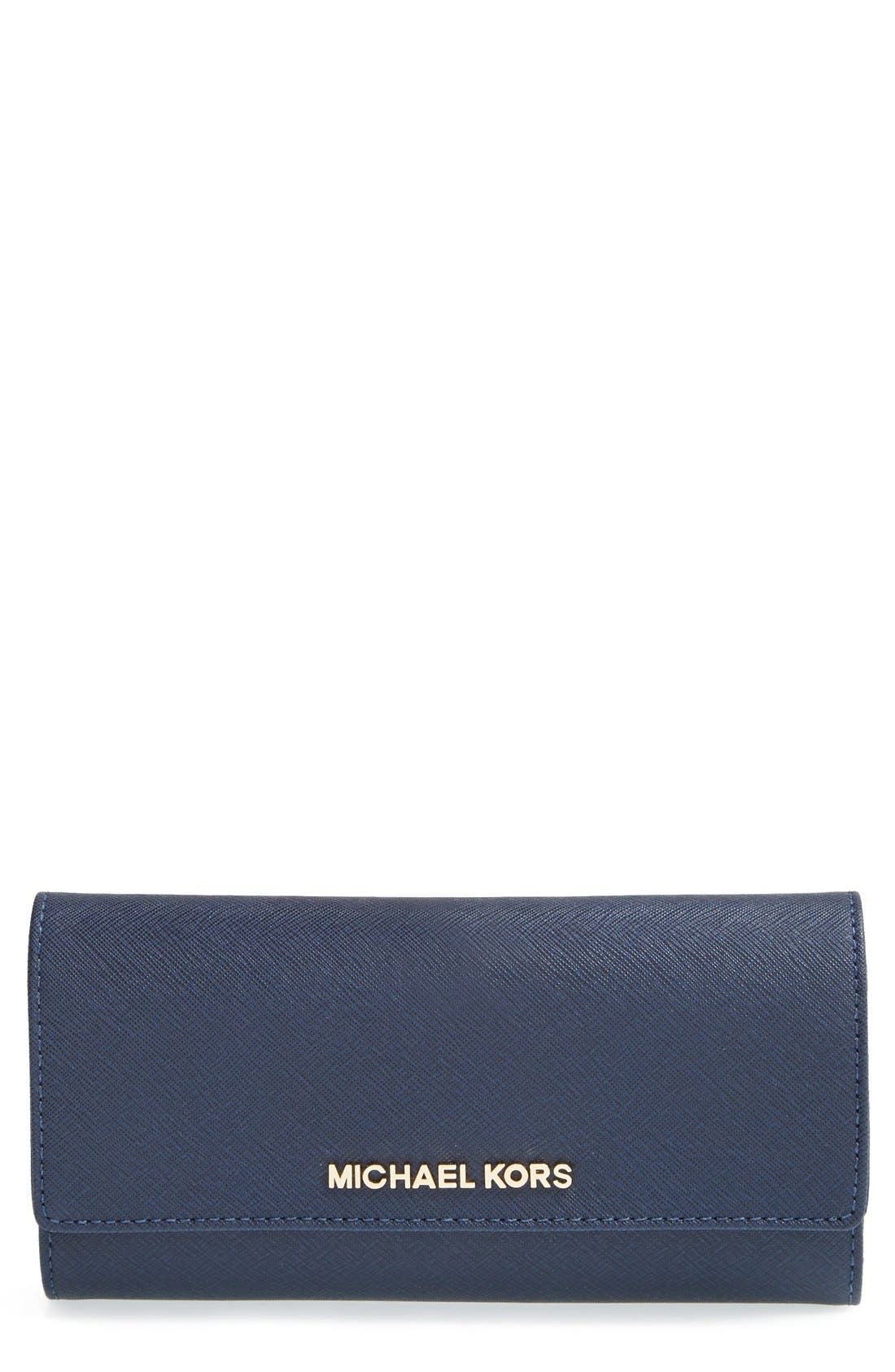 Alternate Image 1 Selected - MICHAEL Michael Kors 'Jet Set' Saffiano Leather Checkbook Wallet