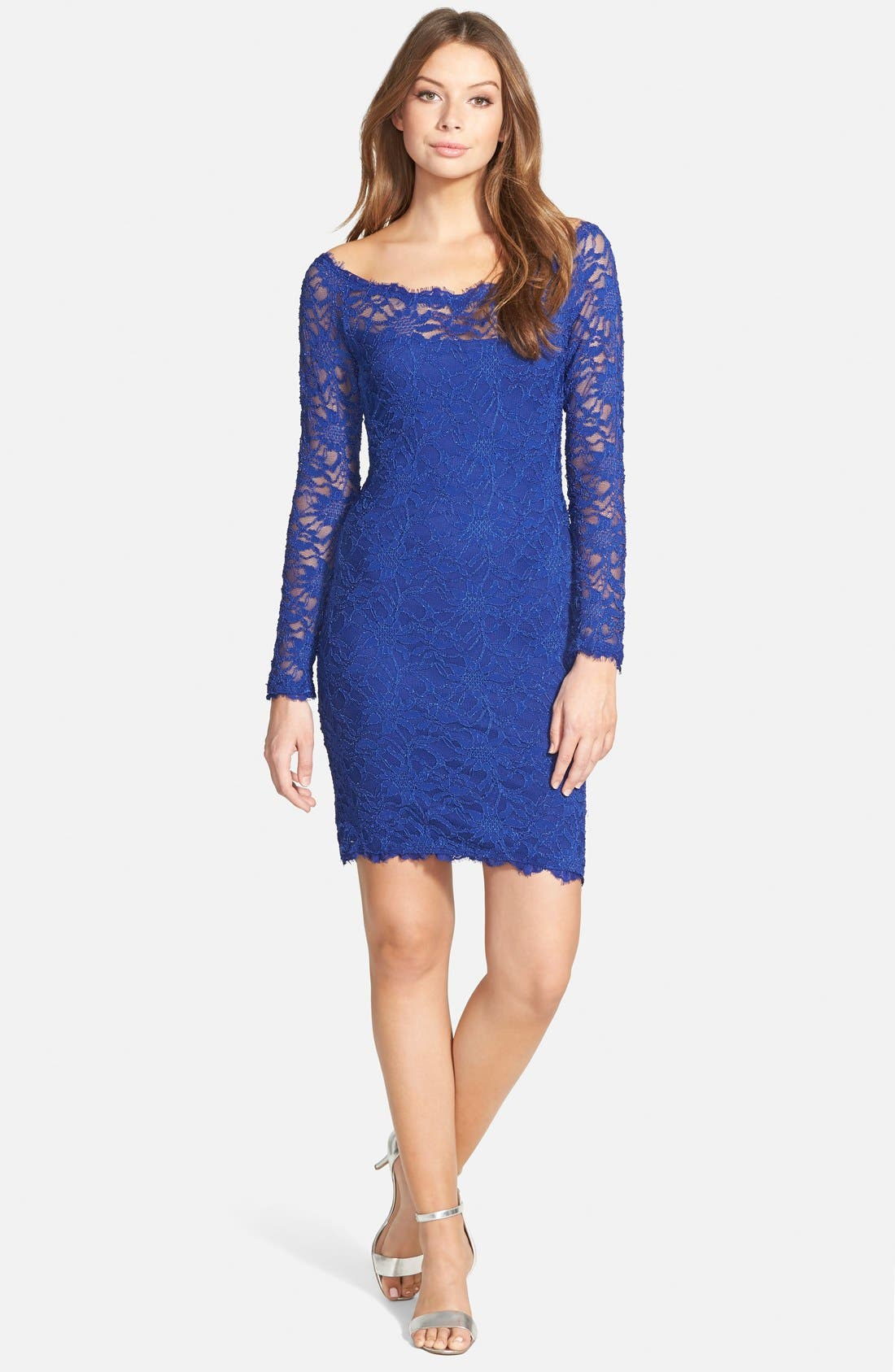 Alternate Image 1 Selected - Jump Apparel Long Sleeve Lace Body-Con Dress