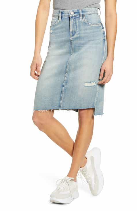 BLANKNYC Distressed Denim Pencil Skirt (Beach View)