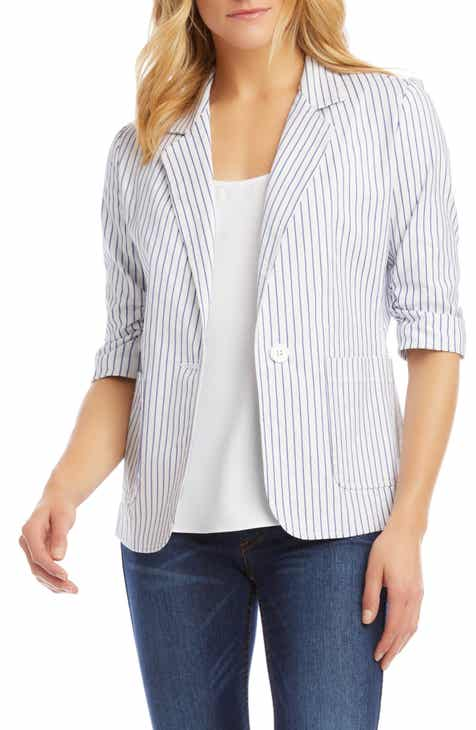 Karen Kane Stripe Ruched Sleeve Stretch Cotton Jacket
