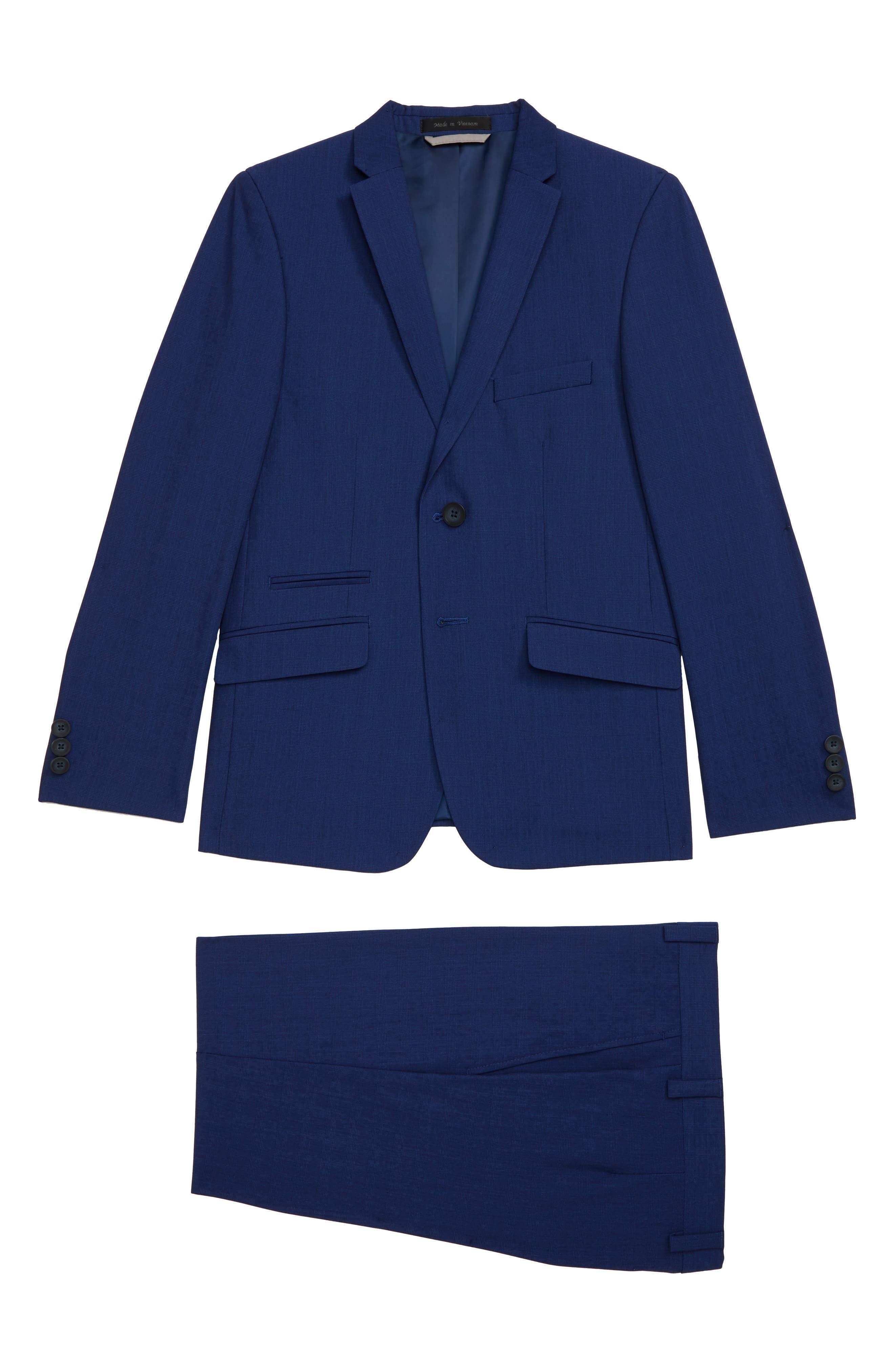 12 Boys Spring Summer Gray Plaid Suit Set Jacket and Pants 2 Pieces Set 4T