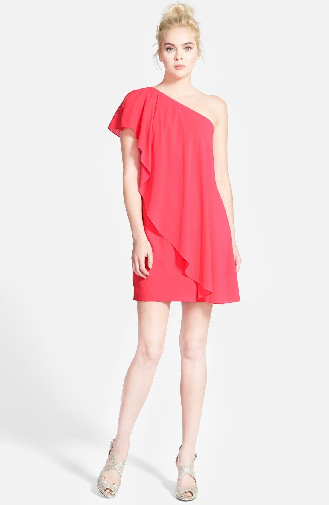 Alternate Image 3  - Aidan by Aidan Mattox One-Shoulder Crepe Dress