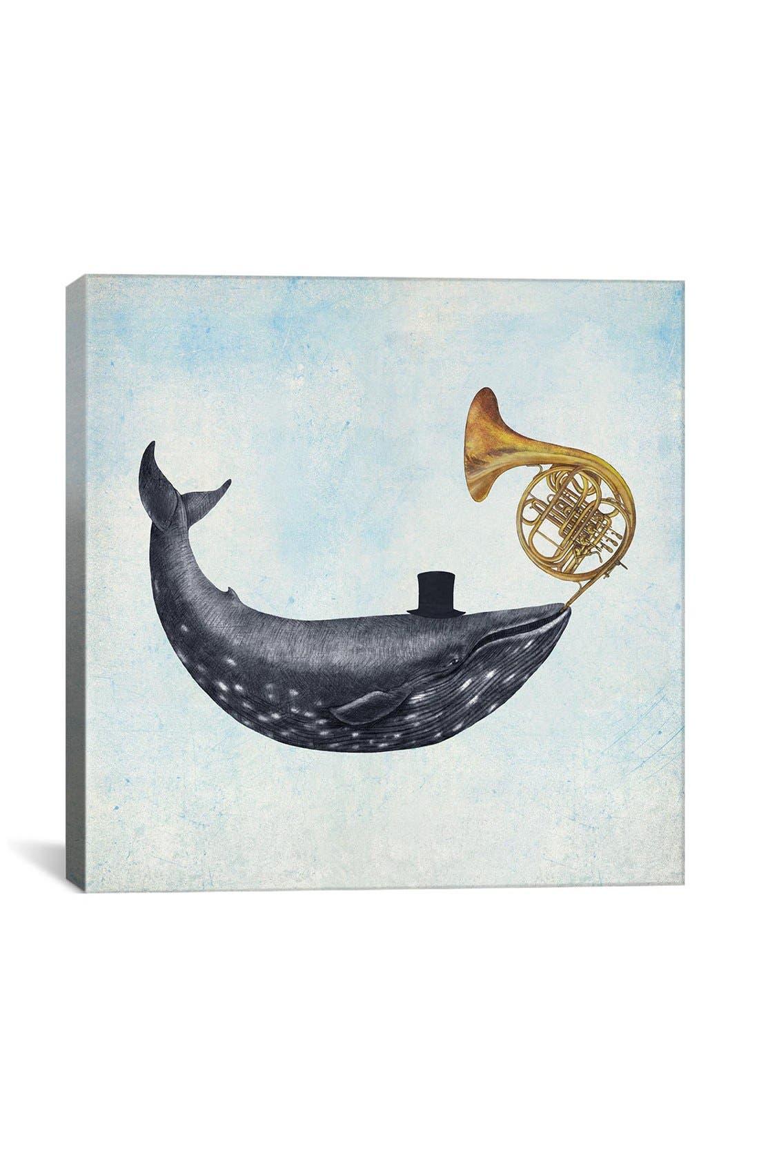 'Whale Song Blue Square - Terry Fan' Giclée Print Canvas Art,                         Main,                         color, Blue