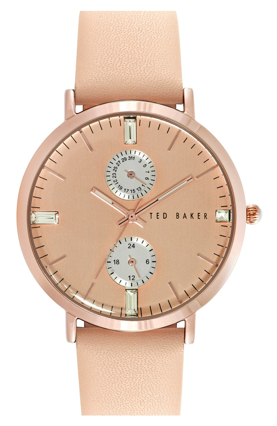Main Image - Ted Baker London 'Dress Sport' Multifunction Leather Strap Watch, 38mm