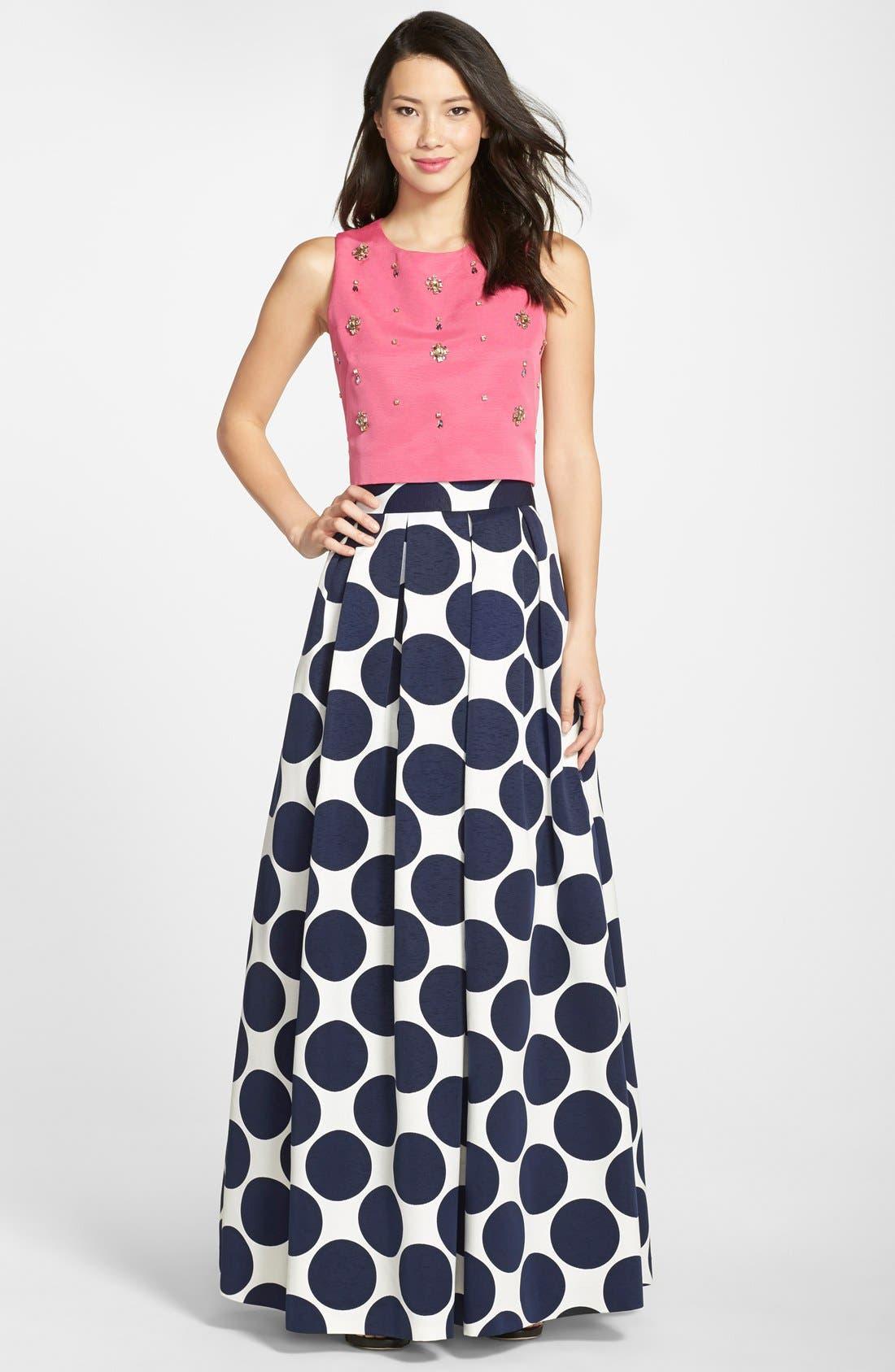 Pleated Dot Print Ball Skirt,                             Alternate thumbnail 4, color,                             Navy/ Ivory