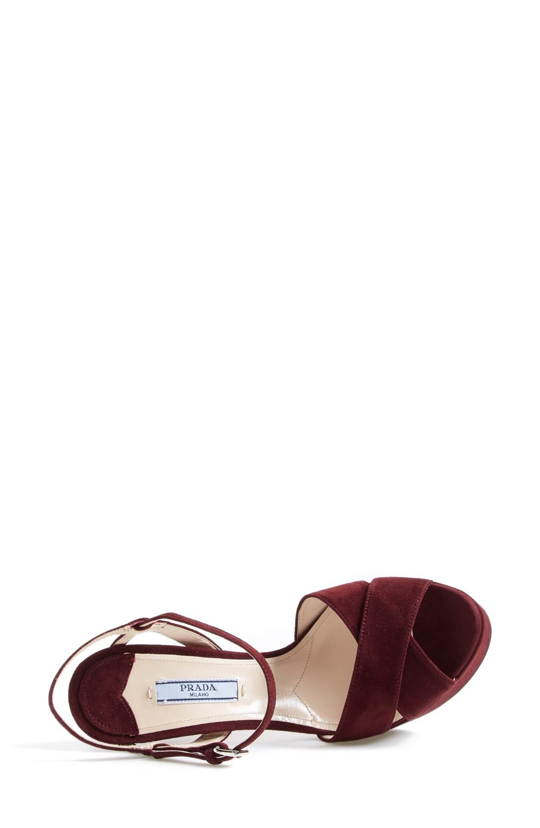 Strappy Sandal,                             Alternate thumbnail 3, color,                             Burgundy Suede