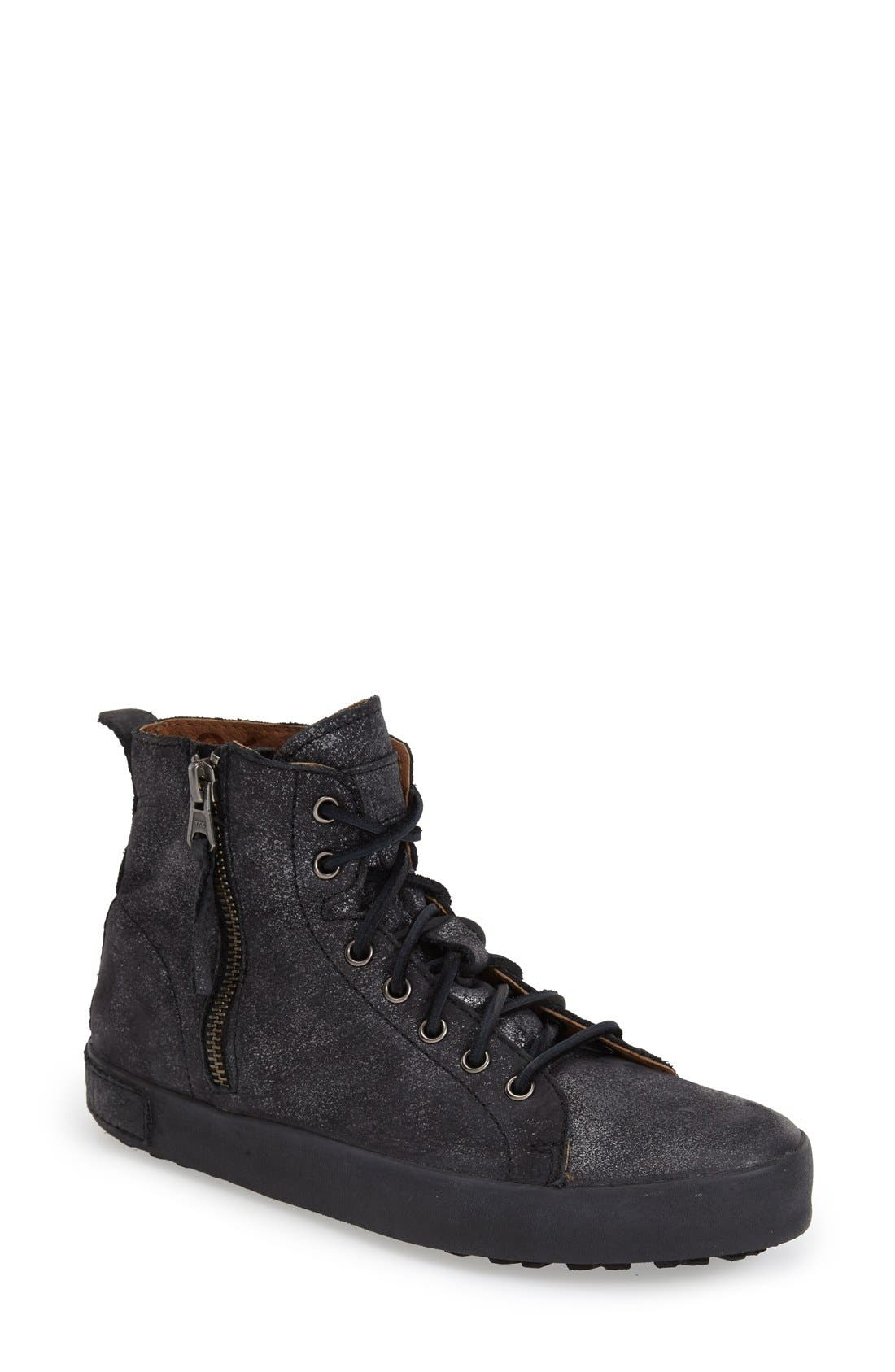 'JL' High Top Sneaker,                             Main thumbnail 1, color,                             Black Metallic