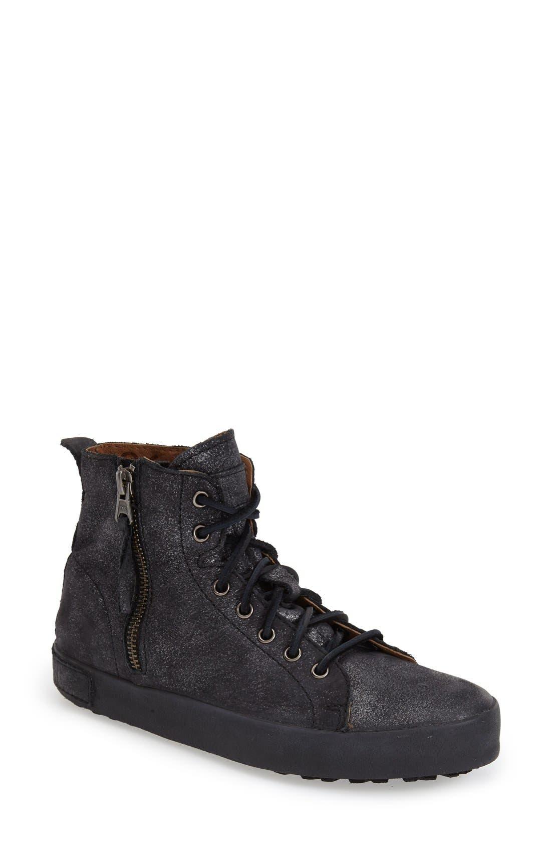 'JL' High Top Sneaker,                         Main,                         color, Black Metallic