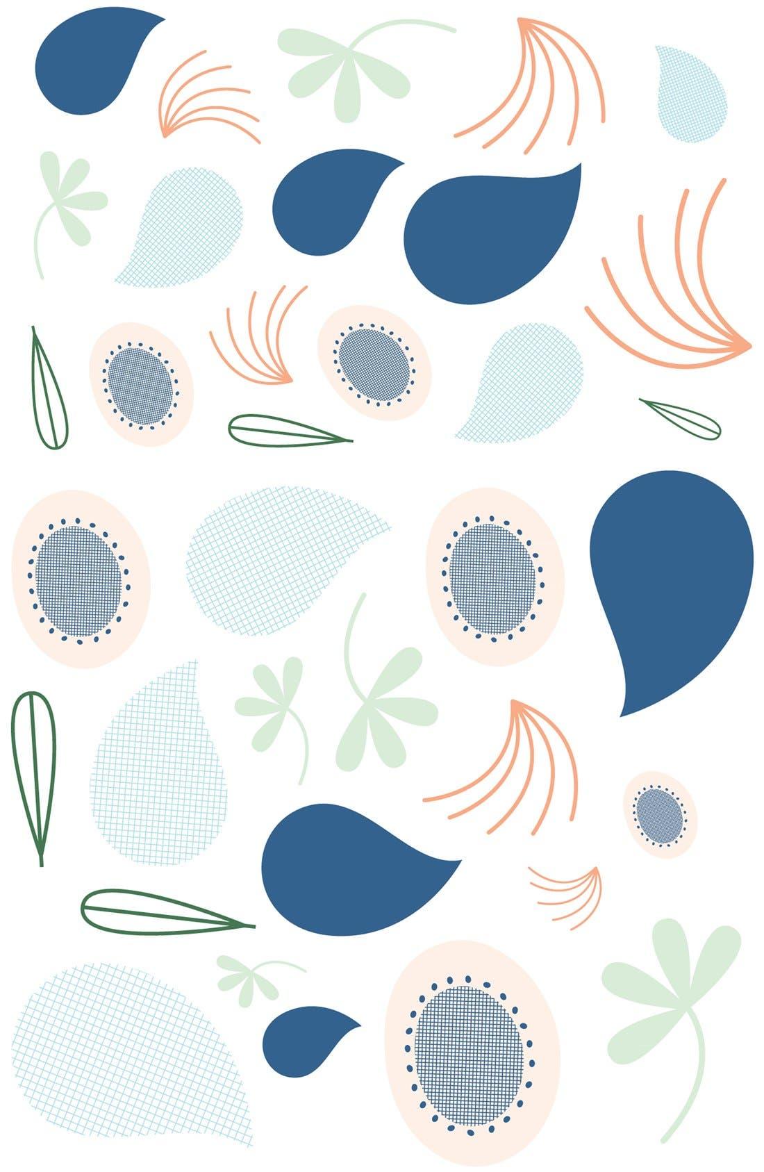 'Flora' Crib Sheet, Crib Skirt, Stroller Blanket & Wall Decals,                             Alternate thumbnail 3, color,                             Blue