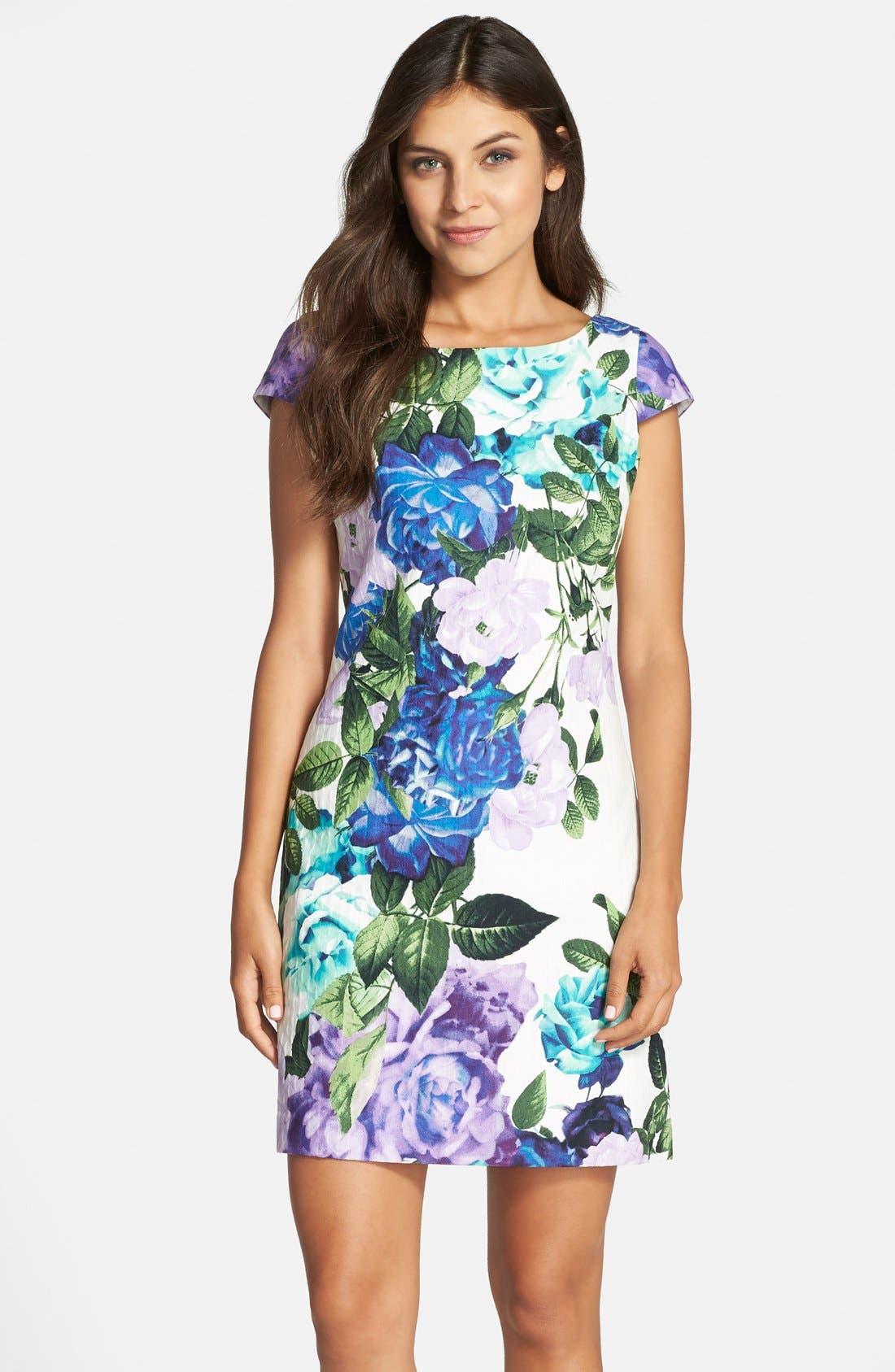 Main Image - Eliza J Floral Jacquard Cotton Shift Dress (Regular & Petite)