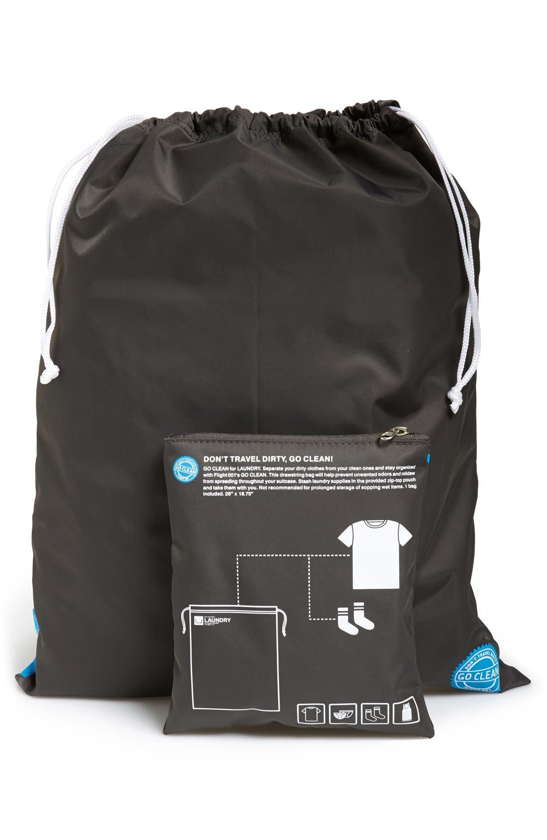 'Go Clean' Nylon Laundry Travel Pouch,                             Alternate thumbnail 2, color,                             Charcoal