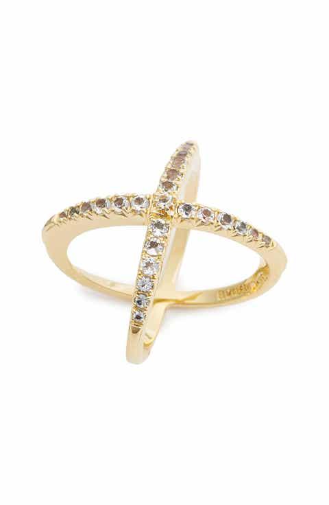 Elizabeth And James 'windrose' Pavé White Topaz Ring