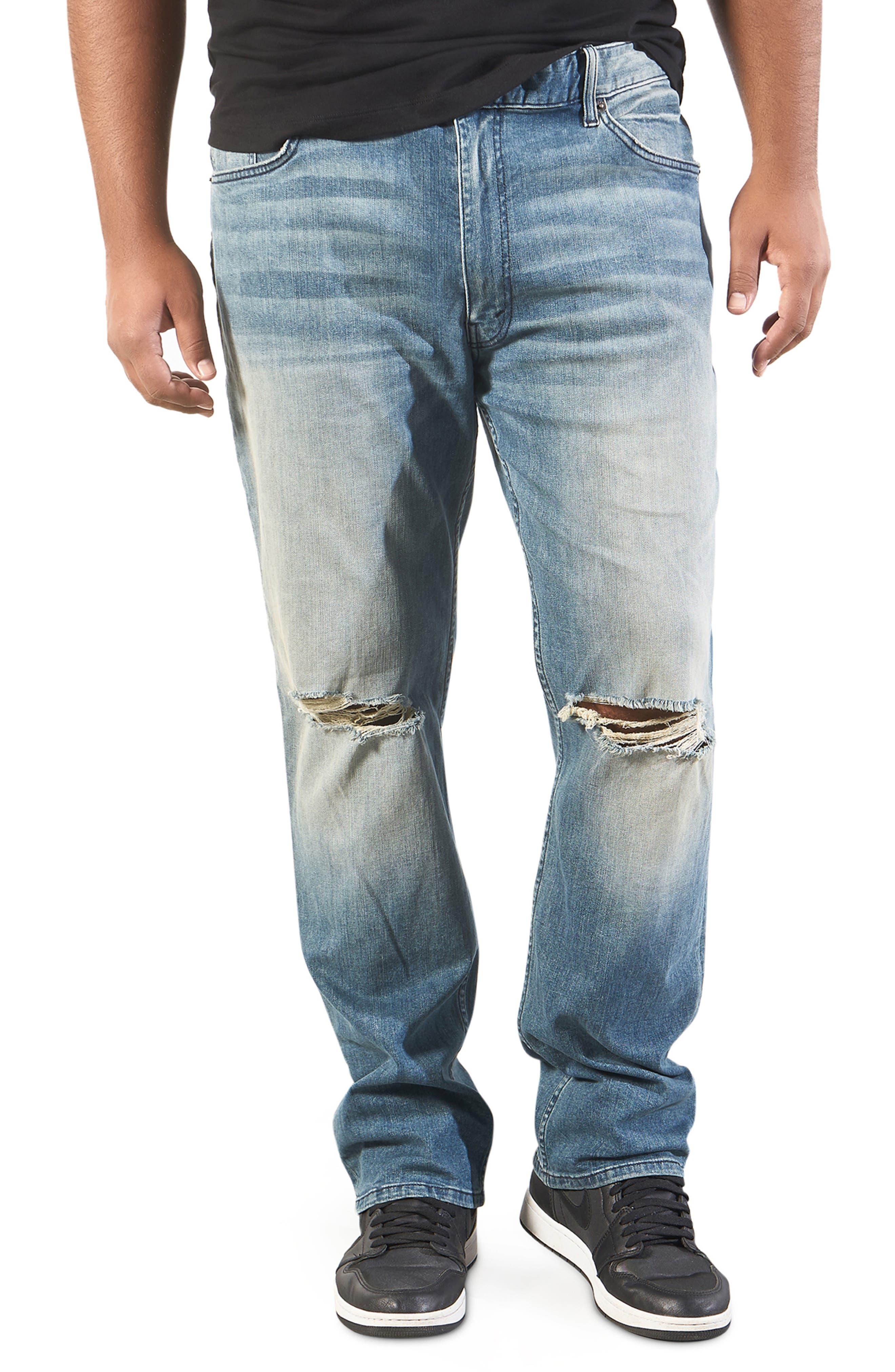 UUYUK-Men Frayed Raw Hem Straight Destroyed Ripped Distressed Jeans Short