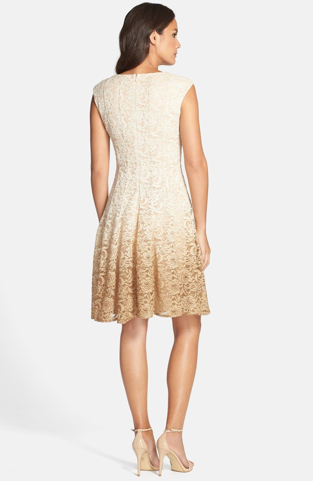 Alternate Image 2  - Chetta B Ombré Lace Fit & Flare Dress