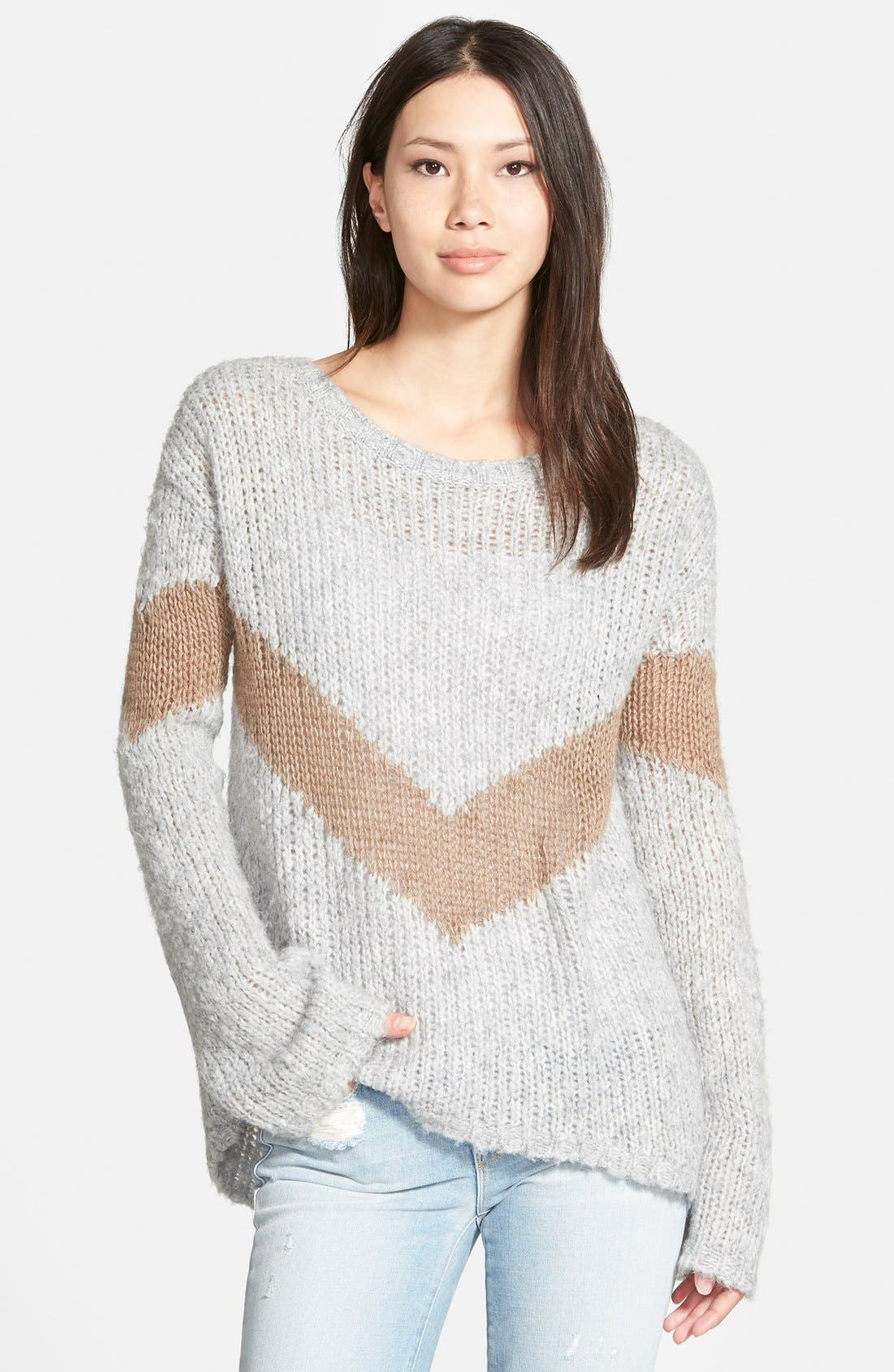 Alternate Image 1 Selected - Pam & Gela Slouchy Chevron Sweater