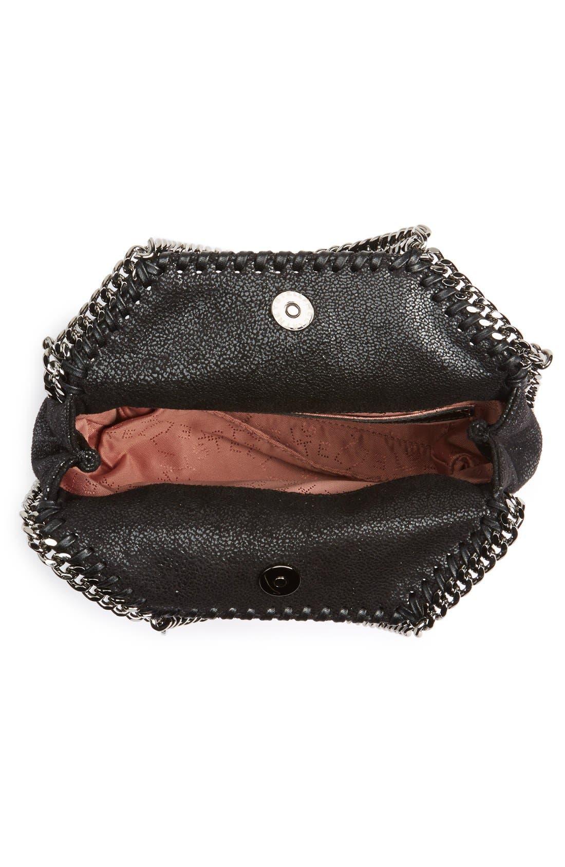'Tiny Falabella' Faux Leather Crossbody Bag,                             Alternate thumbnail 4, color,                             Black